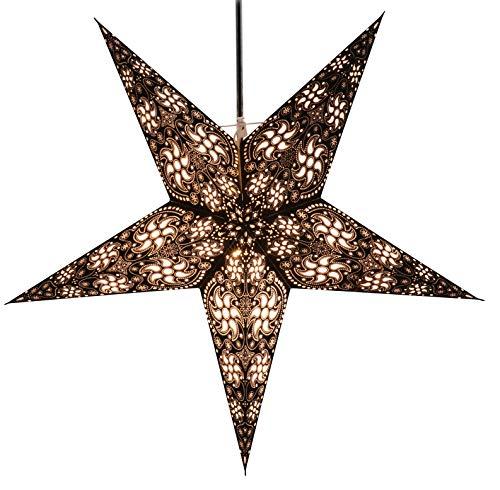 Guru-Shop Faltbarer Advents Leucht Papierstern, Weihnachtsstern 60 cm - Anubis Schwarz, Star Fensterdeko, 7 Spitzen