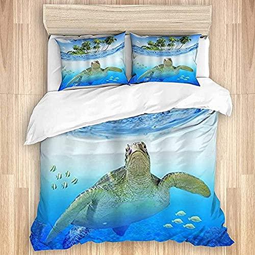 3D Bedding Set Copripiumino lenzuolo e federa Tartaruga di mare pesce spiaggia alberi splendido giorno cielo Copripiumino doppio: incluso 1 copripiumino doppio: 220*240 cm e 2 copricuscino: (48