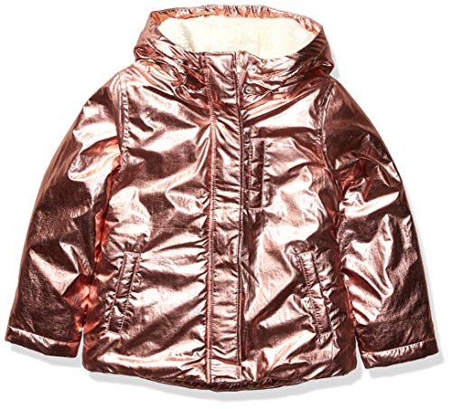 Spotted Zebra Warm Puffer Coat Infant-And-Toddler-Down-Alternative-Outerwear-Coats, Pink Metallic, X-Small (4-5)