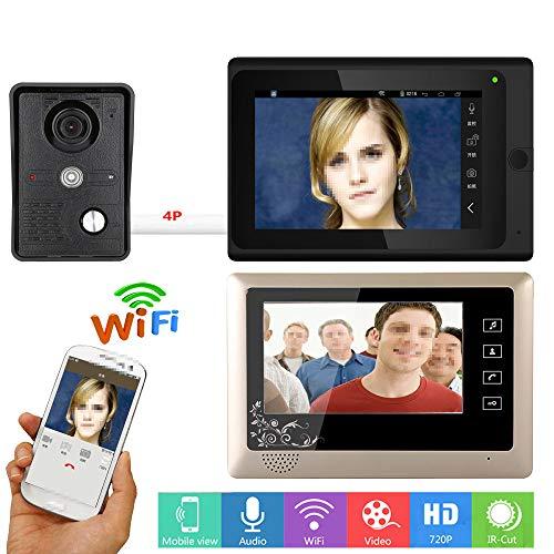 JaidWefj Video Türsprechanlage Türklingel Gegensprechanlage System mit 1 Kamera 2 Monitor/7 Zoll LCD Monitor mit IR-Cut HD 1000TVL Kamera/Nachtsicht