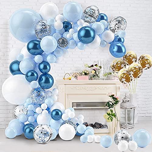 Guirnalda Decorativa para Cumpleaños, Kit de Guirnalda de Globos, 112 piezas Diseño de Macaron Metal Azul Blanco Oro Plata Confeti Globos para Niño Cumpleaño Fiesta de Decoración Arco