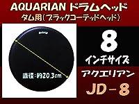 アクエリアン ドラムヘッド(黒コーテッド)(AQUARIAN)タム用JD-8(JD8)8インチ(ジャック・ディジェネット) 旧ロゴ