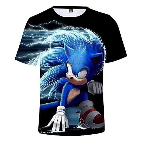 CCBZLY Sonic The Hedgehog - Camiseta de manga corta para niño, diseño de dibujos animados, cuello redondo, cómodo, 03, 150