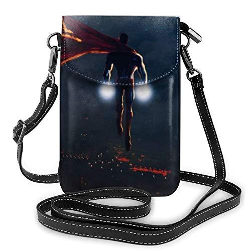 shenguang S-uperman Flight Leichte kleine Umhängetaschen Leder Handy Geldbörsen Reisetasche Umhängetasche Brieftasche mit Kreditkartenfächern für Frauen