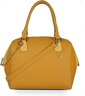 Baggit Spring-Summer 2021 Faux Leather Women's Duffel Handbag (Yellow) (Anaya)