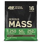 Optimum Nutrition Serious Mass, Mass Gainer avec Whey, Proteines Musculation Prise de Masse avec Vitamines, Creatine et Glutamine, Chocolat, 16 Portions, 5.45kg, l'Emballage Peut Varier