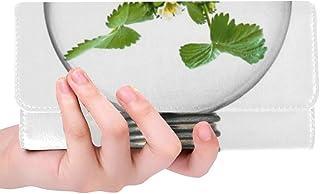 Unique Custom Bulb Light Bulb Growth Plant Light Green Leaf Women Trifold Wallet Long Purse Credit Card Holder Case Handbag