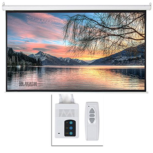 """Henf 92"""" Viewing Area Motorized Projector Screen 16:9 80"""" x 45"""" Display Motorized Wall Mounted Ceiling Projector Screen Drop Down Projection Screen HD Home Theater with Remote Control Matte White"""