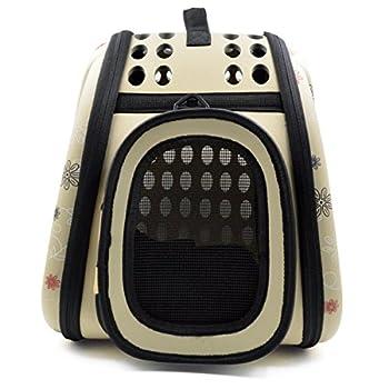 Itian Sac de transport pour animal de compagnie chien chat cage de Voyage caisse pliable Sac a main en forme de coeur (Jaunâtre)