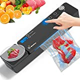 Vacuum Sealer Machine - Food Saver Automatic Food Sealers Vacuum Packing Machine with Kitchen Scale & Cutter - Starter Kit with 10 Vacuum Sealer Bags