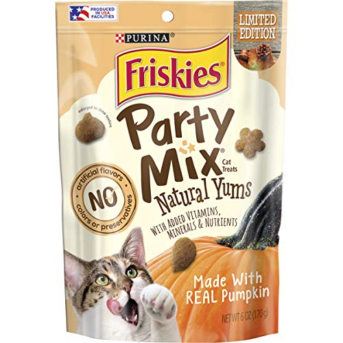 Purina Friskies Made in USA Facilities Natural Cat Treats, Party Mix Natural Yums With Pumpkin - (6) 6 oz. Pouches