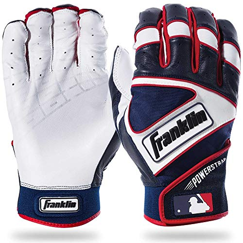 Franklin Sports MLB Powerstrap Batting Gloves, Pearl/Navy/Red - Adult Large
