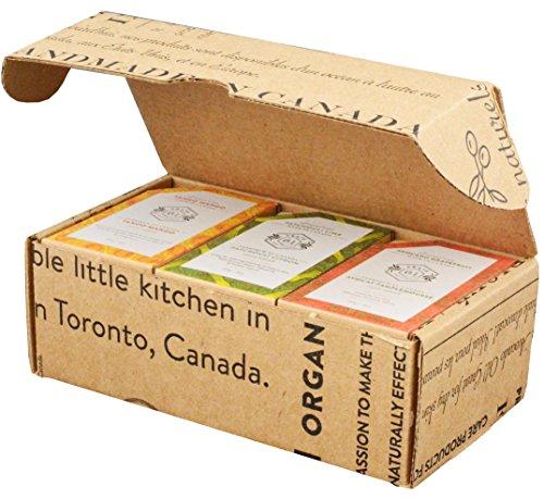 Crate 61 Citrus Soap 6-Pack Box Set, 100% Vegan Cold Process Bar Soap, scented with premium essential oils, for men and women, face and body, lemongrass,vanilla orange,tango mango,avocado grapefruit,fresh mint,patchouli lime