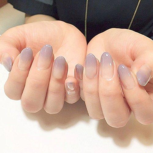 YUNAI Medium False Nails Oval Fake Nail Glatte Hellgrau Lila und Nude Graduierte Farbe