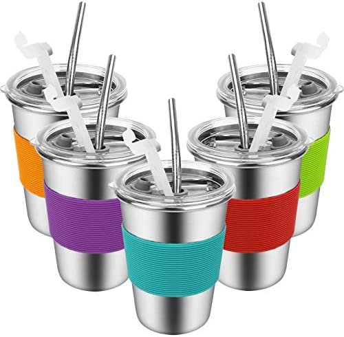 Kids Cups with Straws and Lids 12 oz Spill proof Stainless Steel Kids Tumblers with Lids and product image