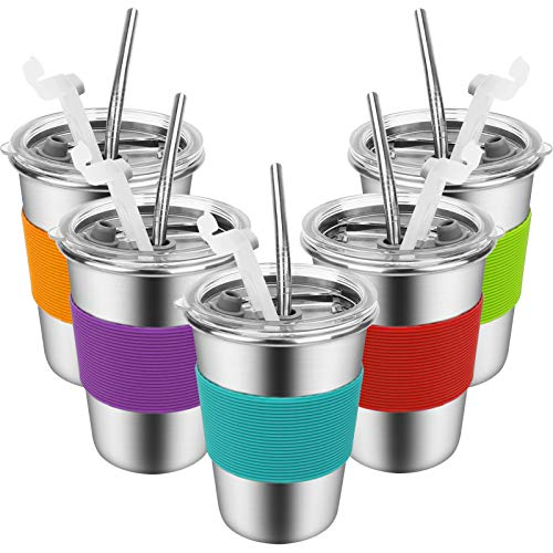 Kids Cups with Straws and Lids - 12 oz. Spill-proof Stainless Steel Kids Tumblers with Lids and...