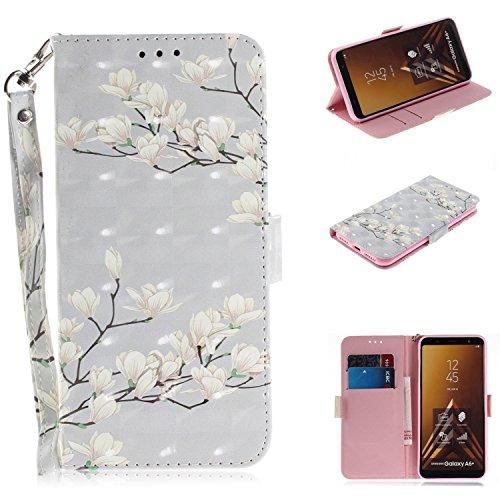 Nadoli Galaxy A6 Plus 2018 Lederhülle,3D Standfunktion Pu Leder Flip Brieftasche Handyhülle Weiß Blumen Wallet Tasche Etui für Samsung Galaxy A6 Plus 2018,Weiß Blumen