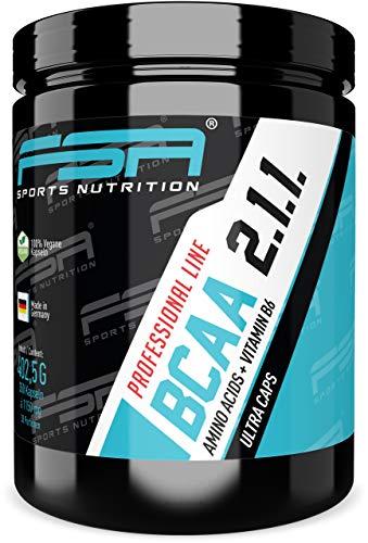 BCAA Kapseln 2:1:1, 350 Kapseln á 1000 mg BCAA, Aminosäuren mit Vitamin B6, Vegan - Made in Germany - FSA Nutrition