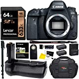 Canon EOS 6D Mark II DSLR Camera Body, Vivitar Battery Grip, Lexar 64GB U3 Memory Card, Ritz Gear Camera Bag, Monopod, Replacement Battery, Accessory Bundle