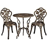 Yaheetech Aluminum Dining Table and Chairs Outdoor <span class='highlight'>Garden</span> <span class='highlight'>Patio</span> <span class='highlight'>Furniture</span> Set 3 Piece for Balcony Rose Design Bronze Finish