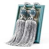 QLING 1 par de alzapaños con borlas de cuentas, cuerda decorativa hecha a mano para cortinas, para...