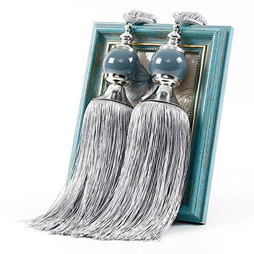 QLING 1 par de alzapaños de cortina con cuentas y borlas, cuerda decorativa hecha a mano, para casa, dormitorio, oficina, hotel (gris)
