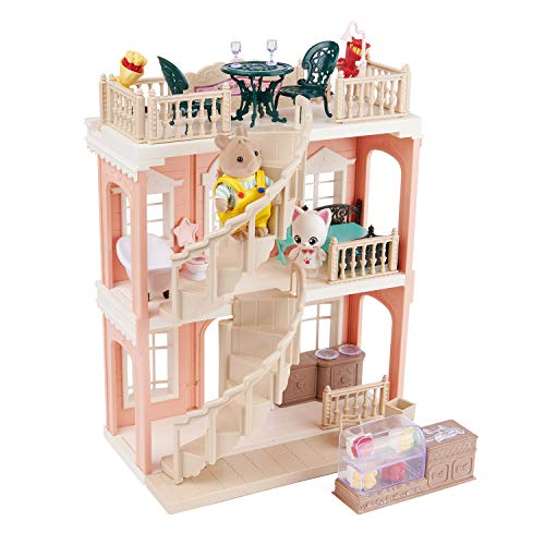 FULIM DIY Dollhouse Kit Set - Portable Doll House Playset Toddler Toys for 3 4 5 6 Year Old Girls Kids with Furniture Accessories and Two Critters, Halloween Christmas Birthday Gifts
