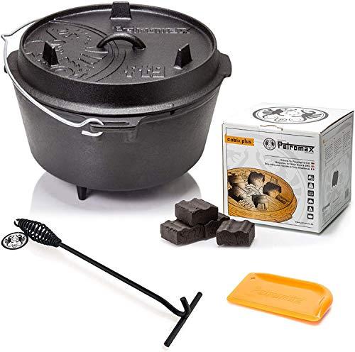 Petromax Feuertopf Starterset ft4.5 (Dutch Oven mit Standfüßen) inkl. Kohlen + Deckelheber + Schaber