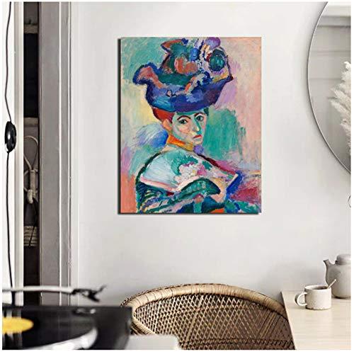 dubdubd Henri Matisse Frau mit einem Hut Leinwand Malerei Wohnzimmer Home Decoration Wandkunst Malerei Poster Bild -50x70cm Kein Rahmen