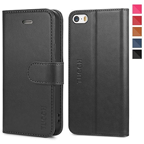 TUCCH iPhone SE Hülle, iPhone 5s Case, Schutzhülle als Brieftasche, [Lifetime Garantie], Klappbare Handyhülle mit TPU [Kartenfach] [Magnet] [Stand], Handytasche Kompatibel für iPhone 5/5s/SE, Schwarz