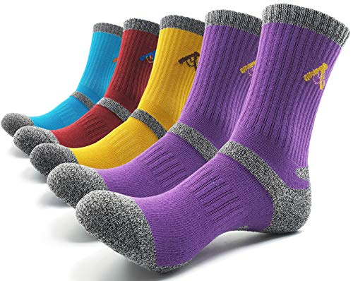 PEACE OF FOOT Hiking Socks boot socks For Womens 5 Pairs Multi Outdoor Sports Trekking Climbing Camping working Crew Socks (purple 2 , red 1 , jade 1 , yellow 1, womens shoe size 8~10(us))
