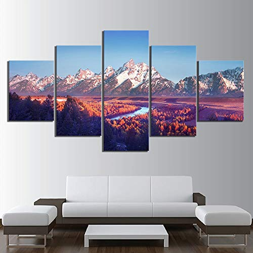 GVC 30X40X60X80 Scenery MountaModular HD Printed 5 Panel Posters Home Decor Canvas Painting Print Wall Picture for Living Room
