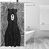 COOSUN Black Bear Shower Curtain Polyester Fabric Water Repellent Mildew Resistant Shower Curtain
