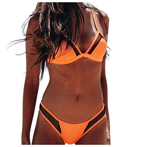 Topkal - Traje de baño para mujer, sexy, estilo bandeau con push up, acolchado, bikini de dos piezas naranja M
