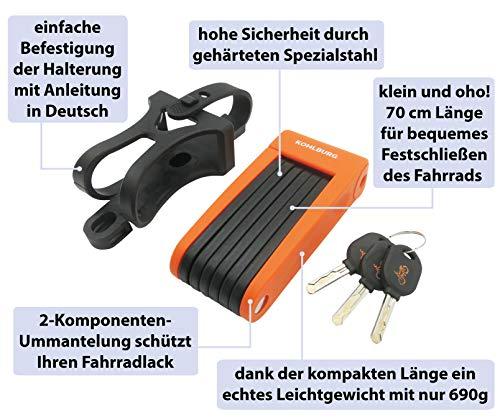 KOHLBURG sehr Leichtes & kleines Faltschloss – 690g leicht & 70cm lang – sicheres Fahrradschloss aus gehärteten Spezialstahl für E-Bike & Fahrrad - 3