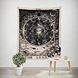 Qmber Tagesdecke Tagesdecke indisch orientalisch Psychedelic Indisch Wandteppich Mandala Elefant Boho Wandtuch Hippie Sternenhimmel Mond Pfirsich Samtdruck,C