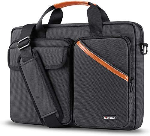 iCozzier 15-15,6 Zoll Laptoptasche mit Multi-Tasche, Aktentasche mit großer Kapazität Umhängetasche Wasserdicht Briefcase Organizer für Elektronisches Zubehör - Schwarz