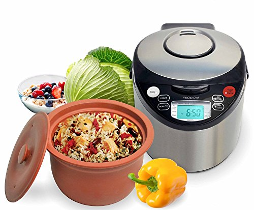VitaClay VM7900-8 Smart Organic Multi-Cooker- A Rice Cooker, A Slow Cooker, A Digital Steamer plus a bonus Yogurt Maker, 8 Cup / 4.2-Quart