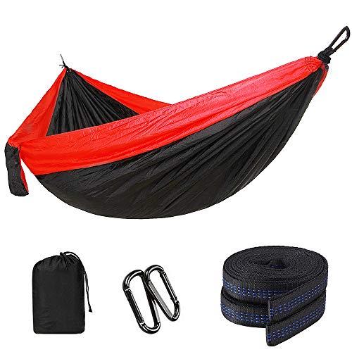 Lixada Camping Hammock Nylon Parachute Fabric Hanging Bed Sleeping Swing with 2 Tree Straps for Hunting Backpacking Travelling Beach Backyard Hiking
