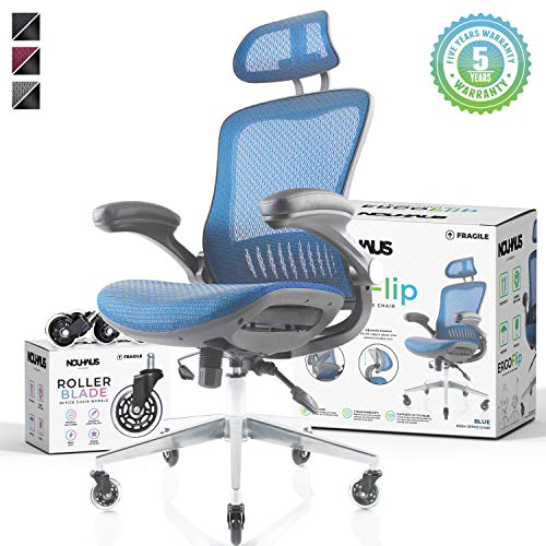 NOUHAUS Ergo Flip! Mesh Computer Chair - Rolling Desk Chair with Retractable Armrest and Bonus Blade Wheels! Ergonomic Office Chair, Gaming Chairs, Executive Swivel Chair, Reinforced Base (Blue) blue chair gaming
