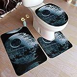 DS-2 Death Star Star Wars Bathroom Antiskid Pad,Bathroom Rug Mats,Set 3 Piece Anti-Skid Pads Bath Mat+Contour+Toilet Lid Cover