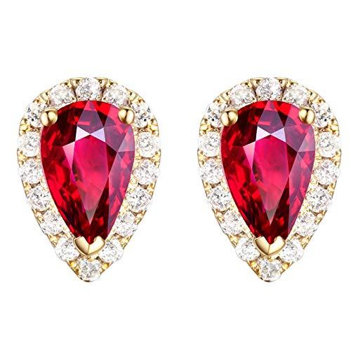 Beydodo Pendiente de Mujer Oro Rojo,Pendientes Oro Amarillo 18k Gota de Agua con Diamante Turmalina 0.65ct