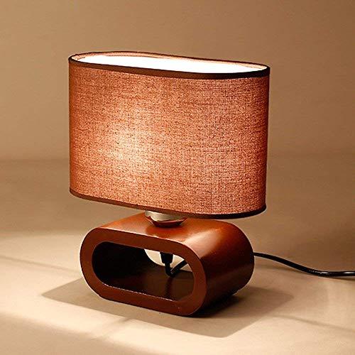 Moderna simplicidad de la lengüeta de madera Lámpara con tela Lámpara de madera creativa Escritorio de la cama Luces de la cama Lámparas de libro modernas Lámparas de escritorio Linterna Linterna E27