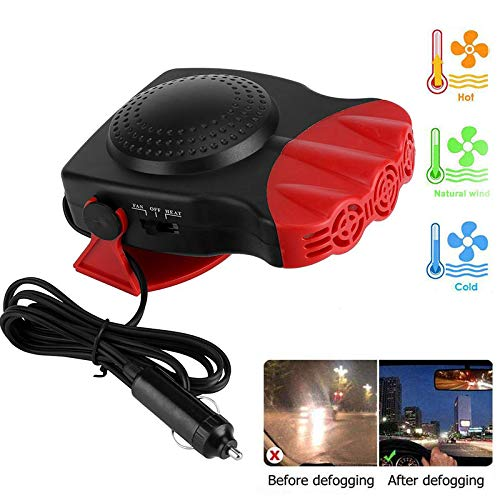 Ceepko Portable Car Heater, 2 in 1 Fast Heater Cooling Fan, 12V 150W Car Heater That Plugs into Cigarette Lighter, Overheat Protection, No Noise, 2 Gears Adjustable, Car Windshield Defogger Defroster