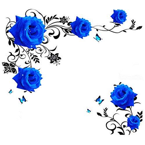 Grandes Flores Rosas Azules Sofá / Fondo De Tv Etiqueta De La Pared Decoración Del Hogar Dormitorio De Bricolaje Sala De Estar Arte Mural Calcomanías Póster Stickers60cm * 90cm * 2pieces