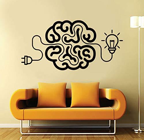 Charge Le Cerveau Art Decal Idée Bureau De Motivation Bureau Vinyle Autocollant Avec Ampoule Décoration Salon Deco Étanche 86X42 Cm