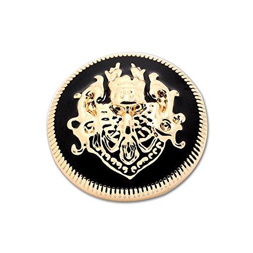 Metall-Knöpfe, Nähknöpfe, Mantelknöpfe, DIY, doppeltes Löwenmotiv, 10er-Pack, Gold-Schwarz, Gold / Schwarz, 12 mm