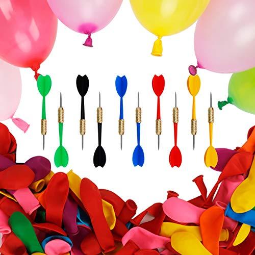 Carnival Games Dart Balloons - KETIEE 500pcs Circus Decorations Christmas Balloons with 10pcs Darts for Carnival Party Supplies