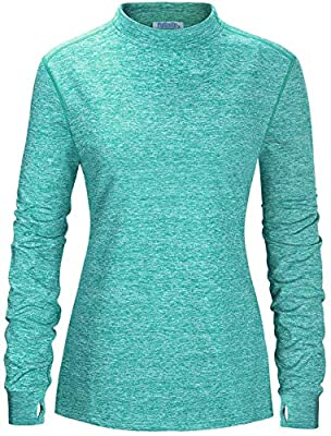 Fulbelle Tunic Tops for Leggings for Women, Womens Long Sleeve Thumb Hole Outdoor Workout Shirt Gym Shirts Work Active Athletic Wear Athleisure Excercise Hiking Clothes Green Medium