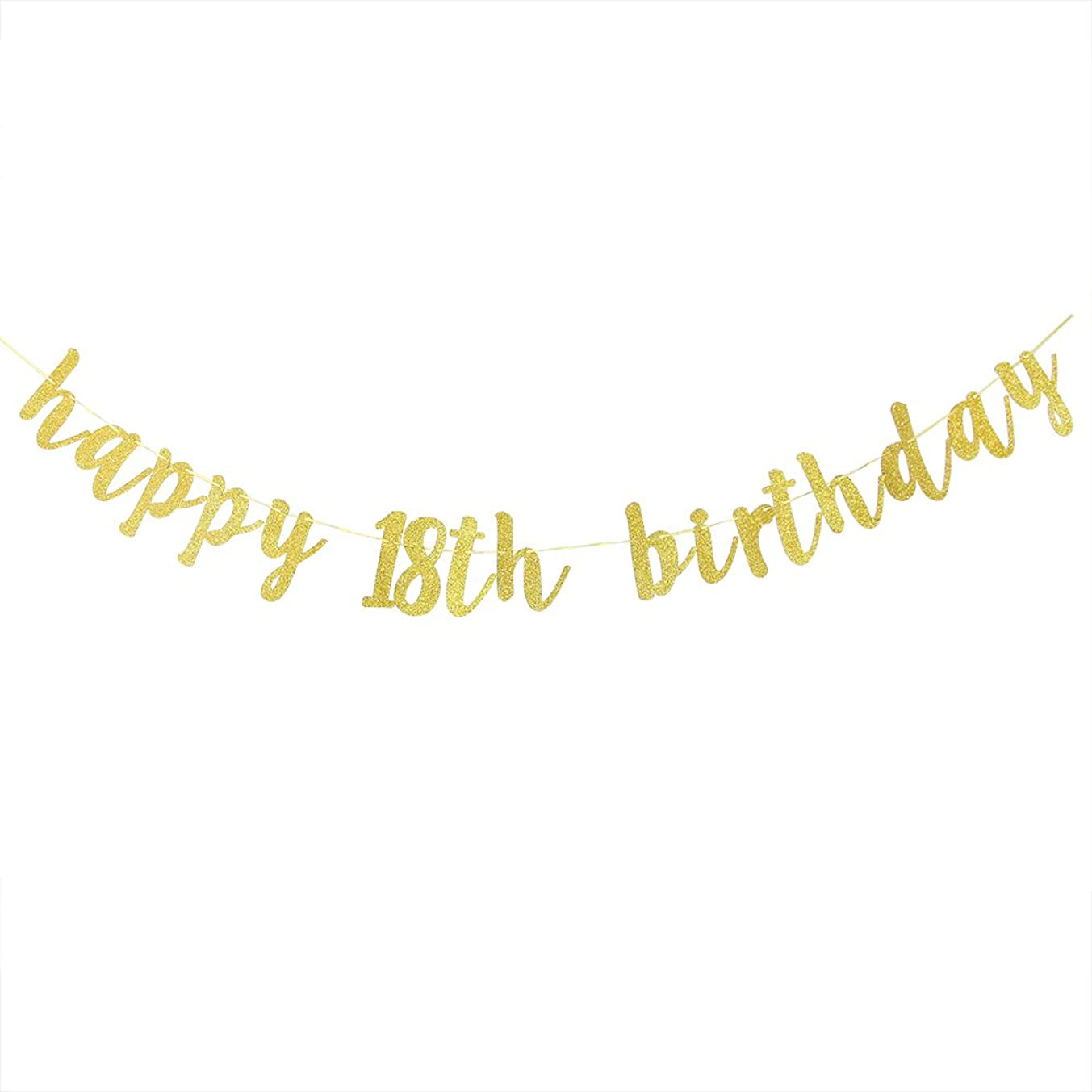 Karoo Jan Happy 18th Birthday Banner Gold Glitter Cheers to 18 Years Hang Bunting?Birthday Party Decorations Supplies